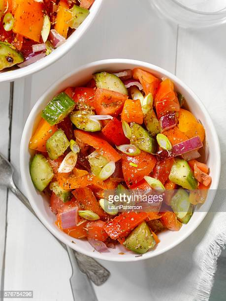 Tomato, Cucumber Salad with Oil and Vinegar Dressing