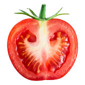 Tomato. Half isolated on white. With clipping path.