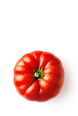 Tomato isolated on a white background viewed from above. Fresh vegetable food. Copy space. Top view