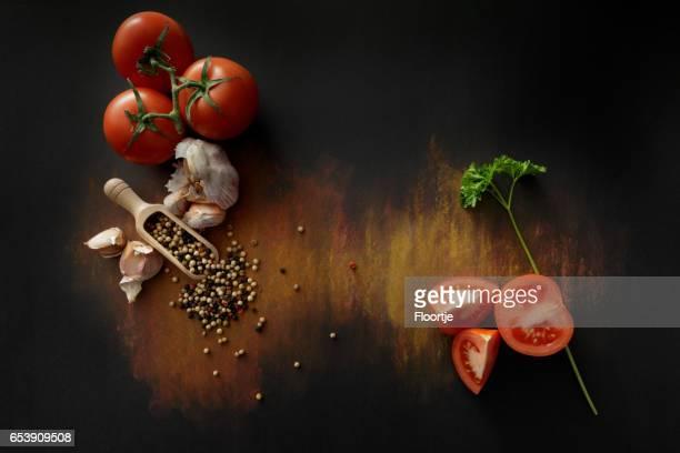 Tomato, Parsley, Garlic and Pepper Still Life