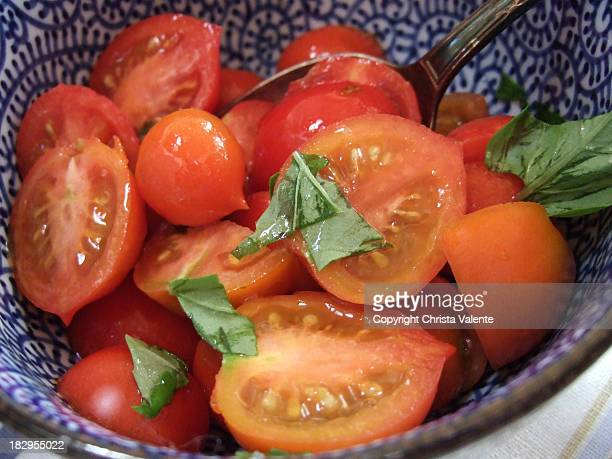 Tomato salad from balcony-grown tomatoes