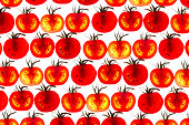 many tomato slice backlit showing intricate detail red green pattern
