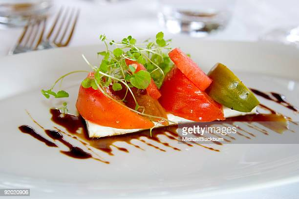 Tomatoe appetizer with feta cheese and balsamic vinegar