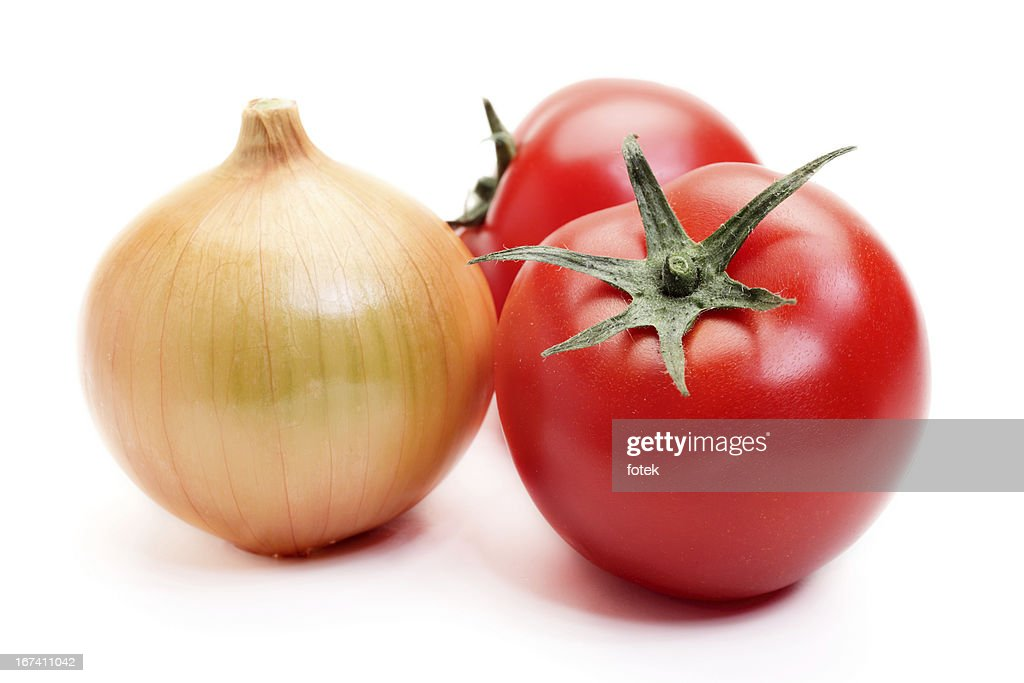 Tomatoes and onion : Bildbanksbilder