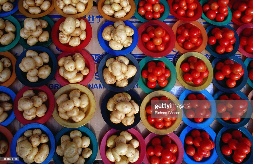 Tomatoes and potatoes for sale at street stall, Johannesburg, Gauteng, South Africa, Africa : Stock Photo