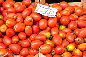 Tomatoes for sale at a market in Palermo, Sicily