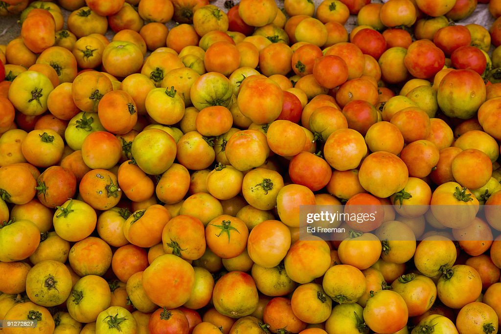 Tomatoes At a Rural Chinese Market : Stock Photo