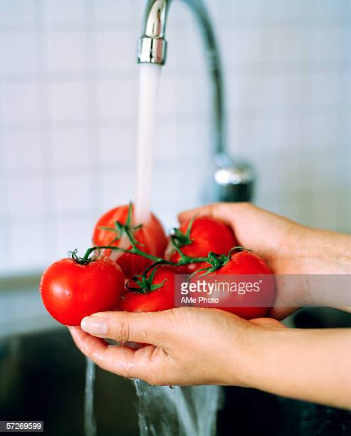 Tomatoes being rinsed in a sink.