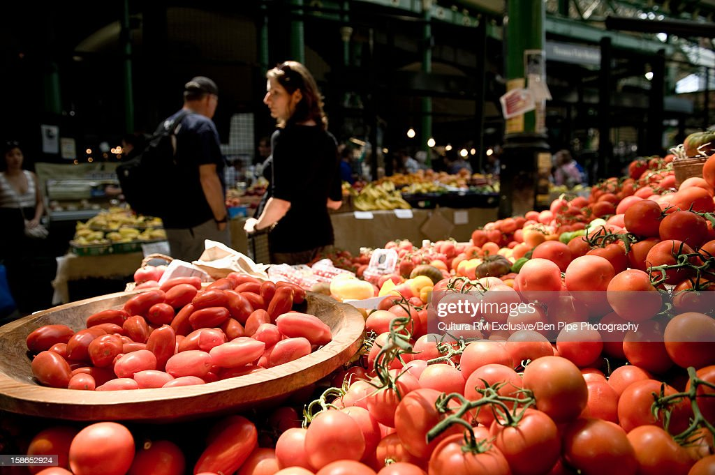 Tomatoes for sale in outdoor market