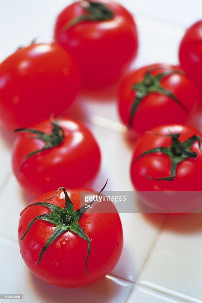 Tomatoes on tile, Differential Focus, Close Up : Stock Photo