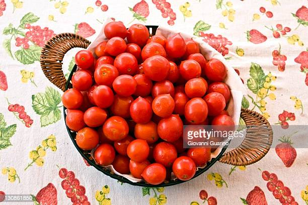 Tomatoes Pachino in a basket, small cherry red tomatoes from the South of Italy, Italy, Europe