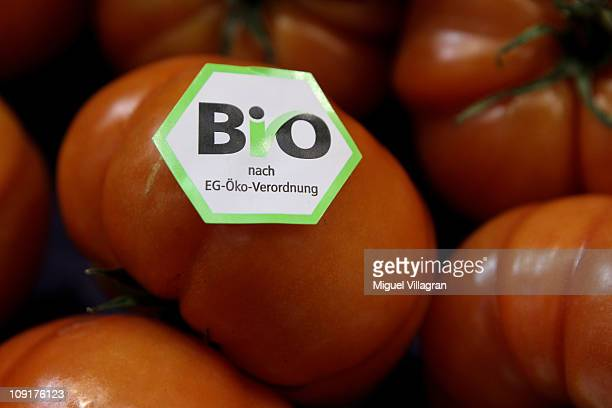 Tomatoes with a sticker reading 'Organic' are pictured during the world organic trade fair BioFach 2011on February 16 2011 in Nuremberg Germany Some...