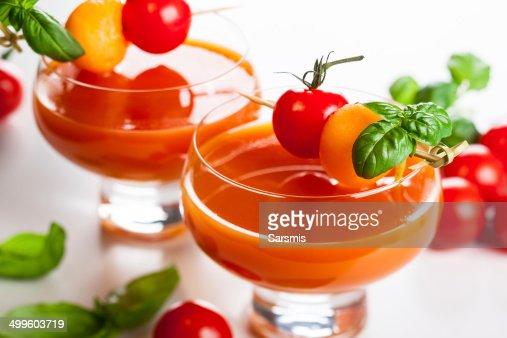 Tomato-Melon Gazpacho soup : Stock Photo