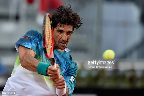 Tomaz Bellucci of Brazil plays a backhand in his match against Gael Monfils of France on Day Two of The Internazionali BNL d'Italia 2016 on May 09...
