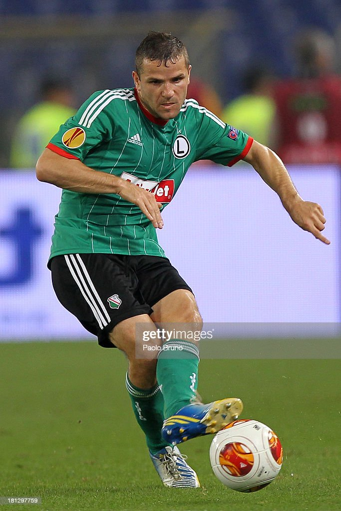 Tomaz Brzyski of Legia Warszawa in action during the Uefa Europa League Group J match between SS Lazio and Legia Warszawa at Stadio Olimpico on September 19, 2013 in Rome, Italy.