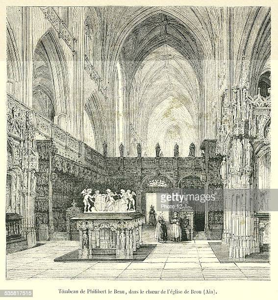 Tomb of Philibert the Handsome in the Church choir in Brou 19th engraving