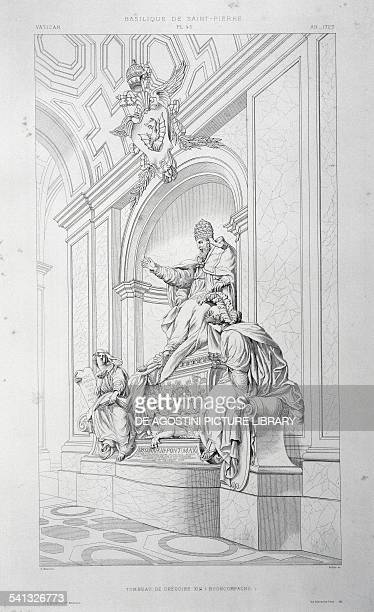 Tomb of Pope Gregory XIII engraving from The Vatican and St Peter's Basilica by Paul Marie Letarouilly Volume I St Peter's Basilica Plate 45 Paris...
