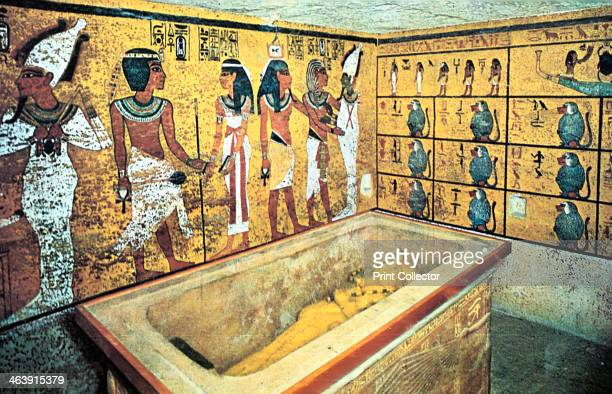 Tomb of Tutankhamun Ancient Egyptian 18th Dynasty c1325 BC Sarcophagus containing the gold coffin of the pharaoh Tutankhamun which held his mummy...