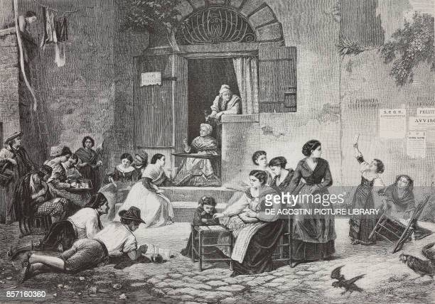 A tombola in Trastevere in Rome Italy illustration from Nuova illustrazione Universale Year 1 No 23 May 10 1874