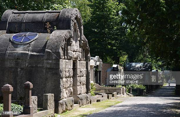 Tombs of the jewish cemetery can be seen in Berlin Weissensee on August 1 2012 Berlin is seeking to have the KarlMarxAlle and the Jewish graveyard in...