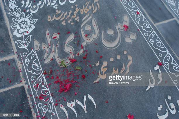 A tombstone of a quake victim with dried flowers spread over it lies in a cemetery in Bam Iran 5th November 2004 The 2003 Bam earthquake was a major...