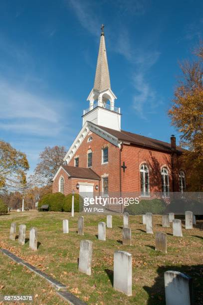 tombstones in front of St Ignatius Church Port Tobacco Maryland