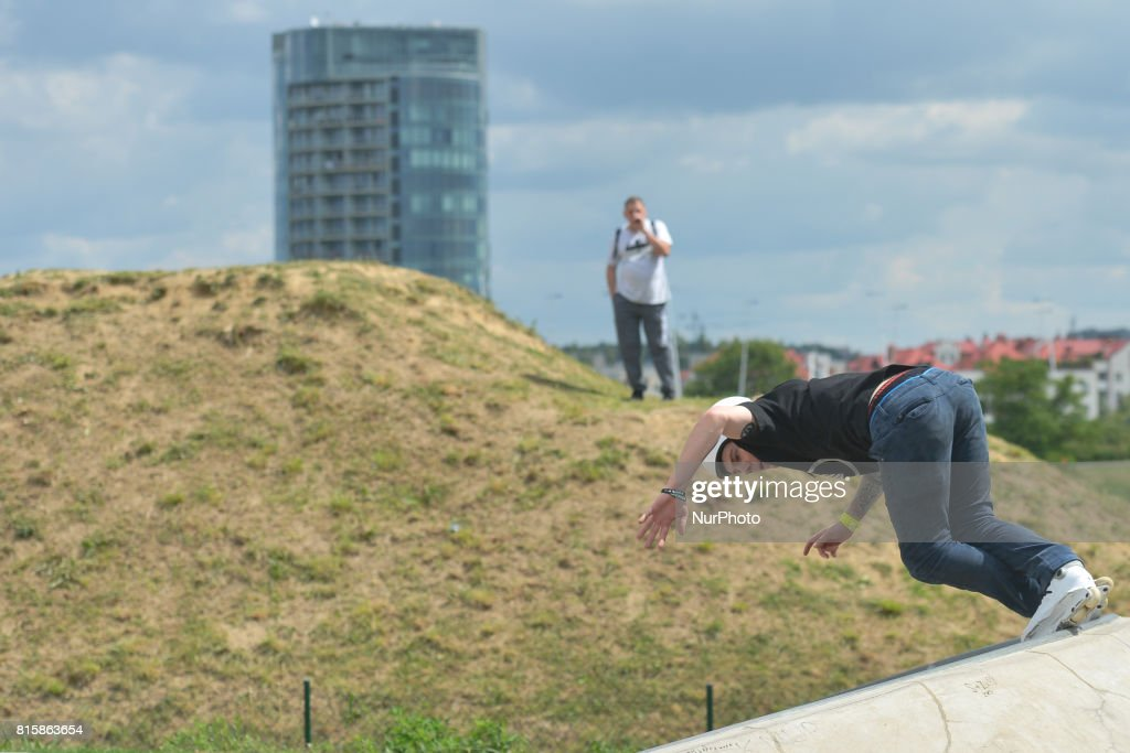 Tomek Przybylik during the final of Rollerblading competition, on the final day of Carpatia Extreme Festival 2017, in Rzeszow. On Sunday, July 16, 2017, in Rzeszow, Poland.