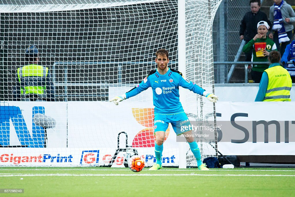 Tomer Chencinski, goalkeeper of Helsingborgs IF controls the ball during the Allsvenskan match between IFK Norrkoping and Helsingborgs IF at Ostgotaporten on May 2, 2016 in Norrkoping, Sweden.