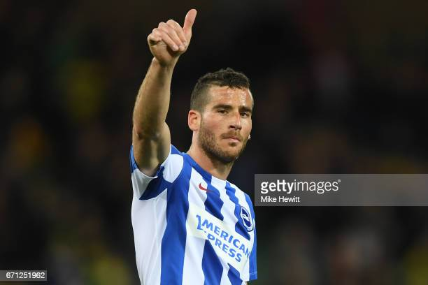 Tomer Hemed of Brighton and Hove Albion applauds supporters during the Sky Bet Championship match between Norwich City and Brighton Hove Albion at...