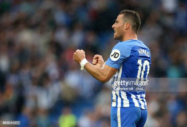 Tomer Hemed of Brighton and Hove Albion celebrates after the Premier League match between Brighton and Hove Albion and Newcastle United at Amex...