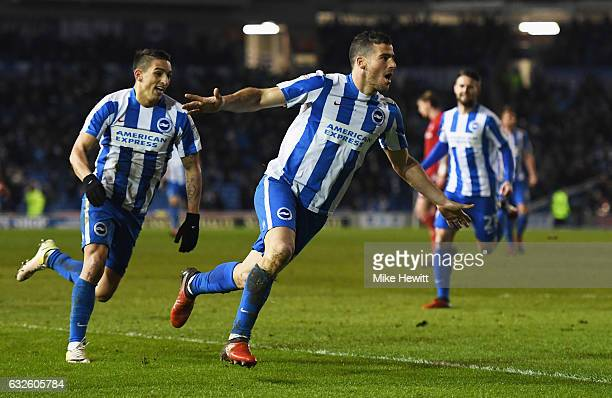 Tomer Hemed of Brighton and Hove Albion celebrates as he scores their first goal during the Sky Bet Championship match between Brighton Hove Albion...
