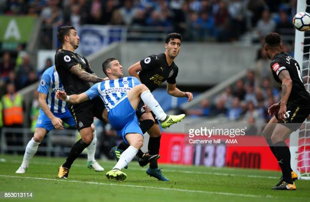 Tomer Hemed of Brighton and Hove Albion scores a goal to make it 10 during the Premier League match between Brighton and Hove Albion and Newcastle...