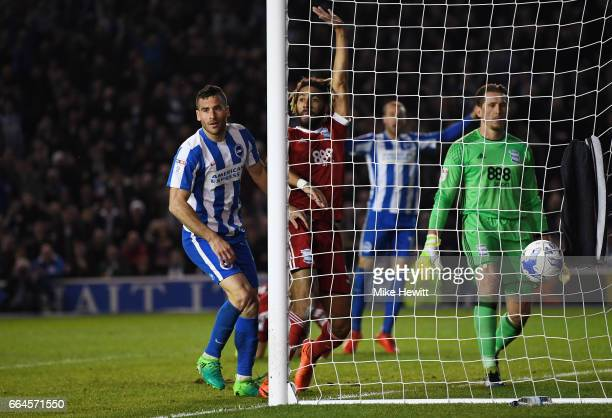 Tomer Hemed of Brighton and Hove Albion scores his sides second goal during the Sky Bet Championship match between Brighton Hove Albion and...