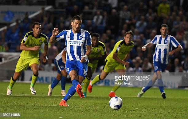 Tomer Hemed of Brighton and Hove Albion scores his sides third goal from the penalty spot during the Sky Bet Championship match between Brighton Hove...