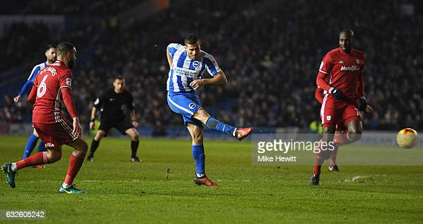 Tomer Hemed of Brighton and Hove Albion scores their first goal during the Sky Bet Championship match between Brighton Hove Albion and Cardiff City...