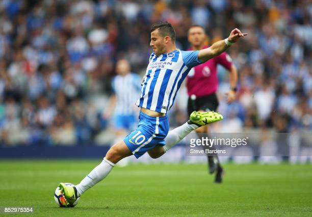 Tomer Hemed of Brighton and Hove Albion shoots during the Premier League match between Brighton and Hove Albion and Newcastle United at Amex Stadium...