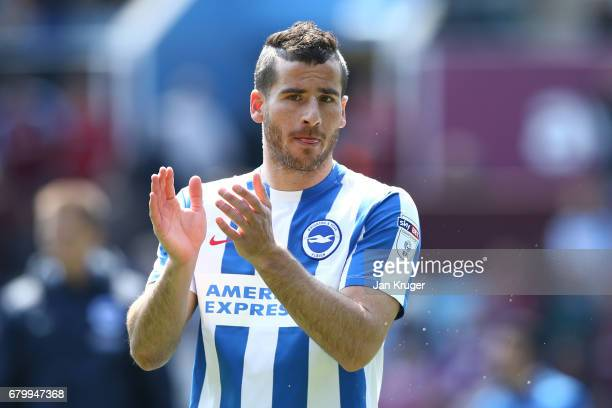 Tomer Hemed of Brighton and Hove Albion shows appreciation to the fans after the Sky Bet Championship match between Aston Villa and Brighton Hove...