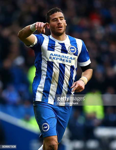 Tomer Hemed of Brighton celebrates after he scores the teams second goal during the Sky Bet Championship match between Brighton and Hove Albion and...