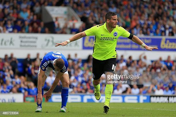 Tomer Hemed of Brighton celebrates scoring his teams third goal during the Sky Bet Championship match between Ipswich Town and Brighton and Hove...