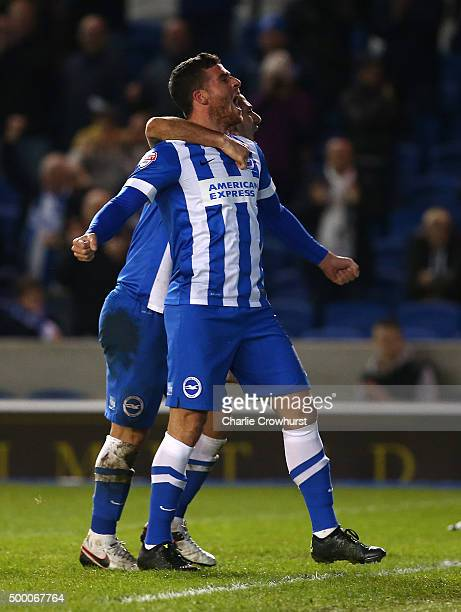 Tomer Hemed of Brighton celebrates with Beram Kayal after scoring the teams third and winning goal of the game during the Sky Bet Championship match...
