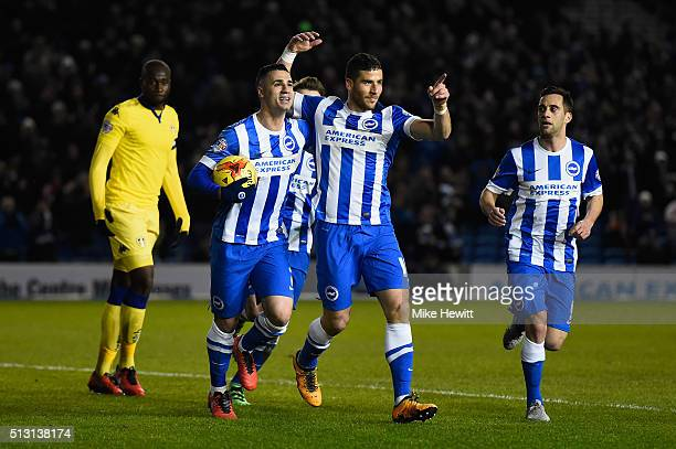Tomer Hemed of Brighton Hove Albion celebrates after scoring from the penalty spot during the Sky Bet Championship match between Brighton and Hove...
