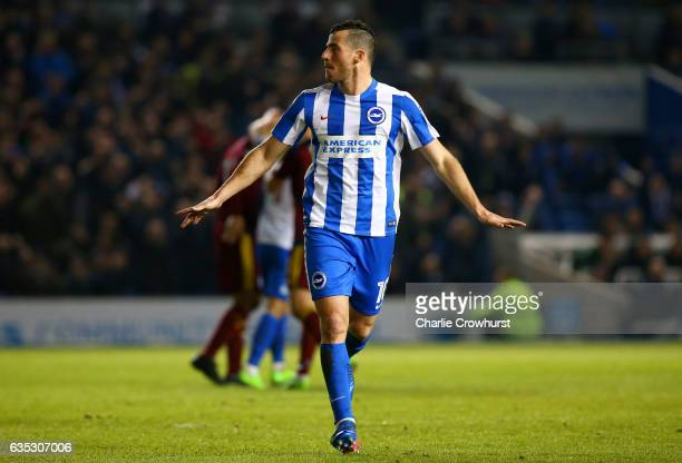 Tomer Hemed of Brighton Hove Albion celebrates after scoring his side's first goal from the penalty spot during the Sky Bet Championship match...