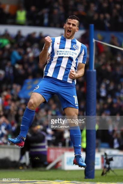 Tomer Hemed of Brighton Hove Albion celebrates scoring the opening goal during the Sky Bet Championship match between Brighton Hove Albion and Burton...