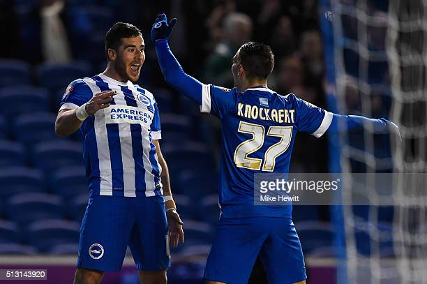 Tomer Hemed of Brighton Hove Albion celebrates with Anthony Knockaert after scoring his sewcond goal during the Sky Bet Championship match between...