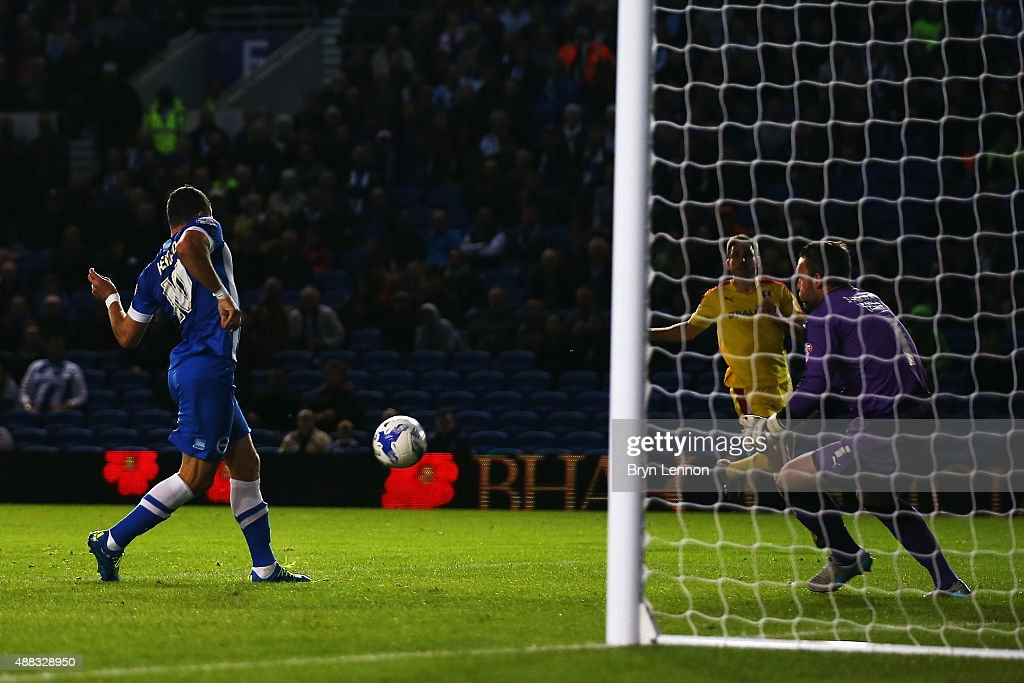 Tomer Hemed of Brighton Hove Albion scores during the Sky Bet Championship match between Brighton Hove Albion and Rotherham United at Amex Stadium on...