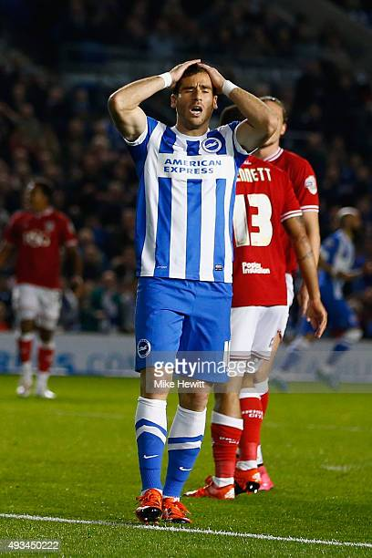Tomer Hemed of Brighton reacts after heading just wide during the Sky Bet Championship match between Brighton Hove Albion and Bristol City at Amex...