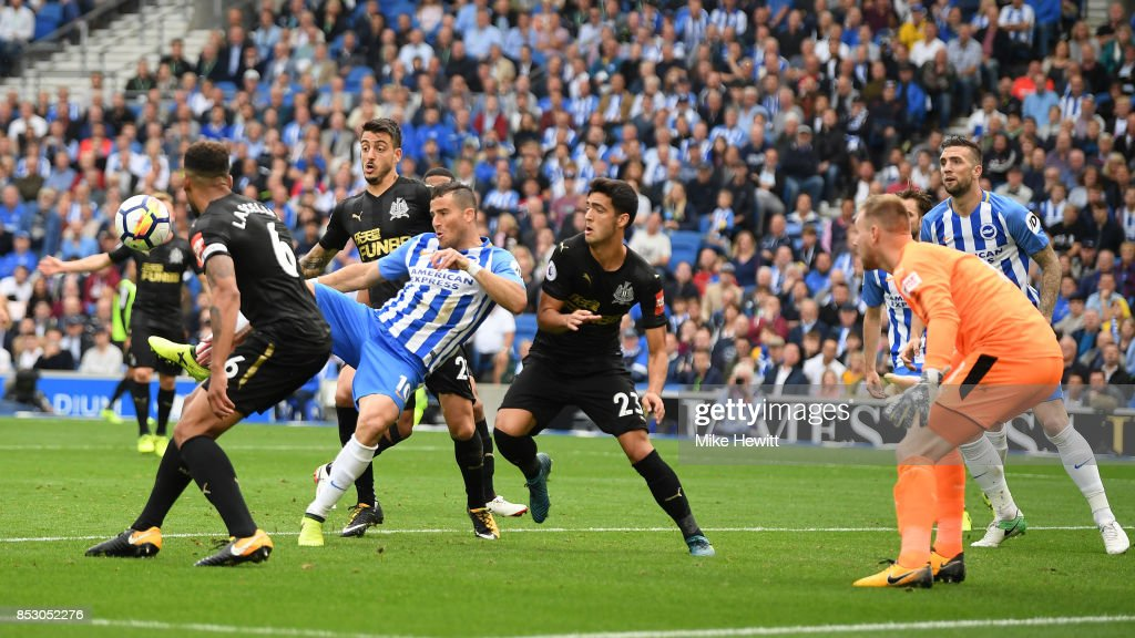 Tomer Hemed of Brighton scores the only goal of the game during the Premier League match between Brighton and Hove Albion and Newcastle United at Amex Stadium on September 24, 2017 in Brighton, England.