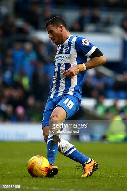 Tomer Hemed of Brighton scores the teams second goal during the Sky Bet Championship match between Brighton and Hove Albion and Bolton Wanderers at...