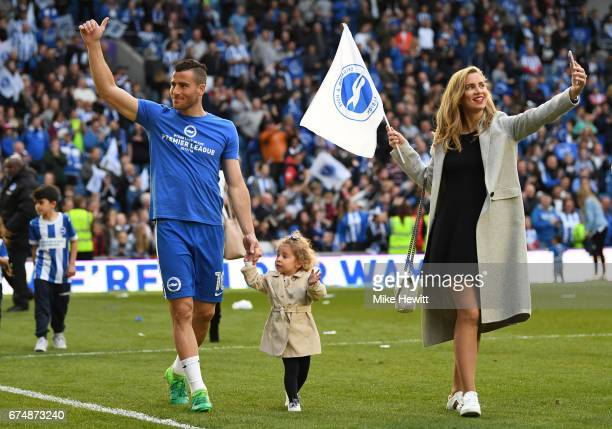 Tomer Hemed of Brighton takes part in a lap of honour with his family after the Sky Bet Championship match between Brighton Hove Albion and Bristol...