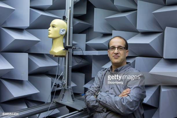 Tomer Shani cofounder and chief executive officer of Noveto Systems Ltd poses for a photograph in a sound proof laboratory at the Noveto Systems Ltd...